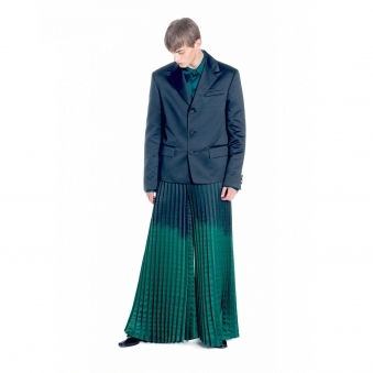 Satin Wide Leg Pleated Trousers
