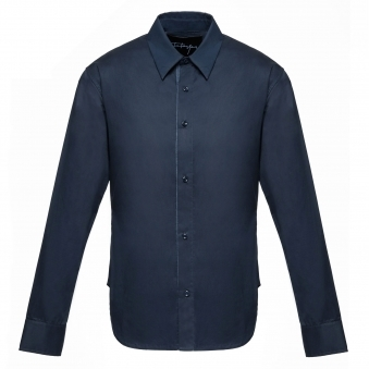 Navy Cotton Shirt with Printed Motifs