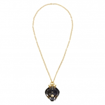 Black & Gold Studded Leather Locket Lollipop Necklace/ Key Chain