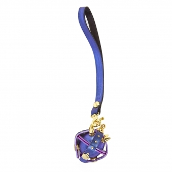 Metallic Purple & Gold Studded Leather Locket Key Chain/ Necklace