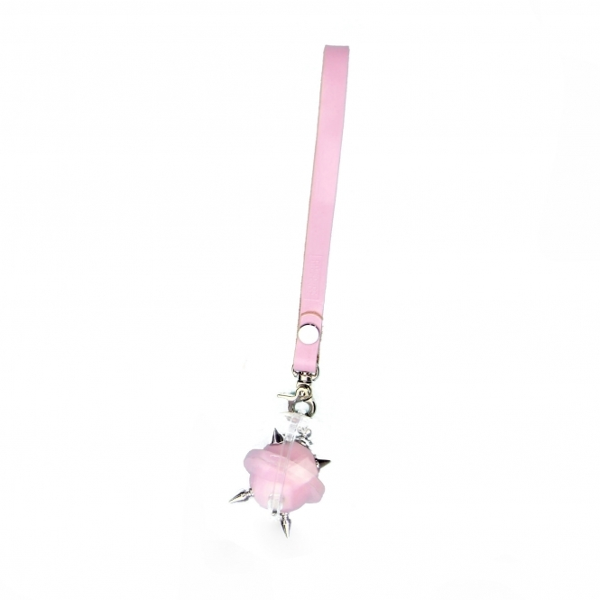 GOFEFE Pastel Pink & Silver Mini Studded Leather Key Chain/ Necklace