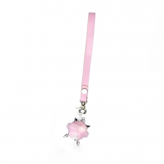 Pastel Pink & Silver Mini Studded Leather Key Chain/ Necklace