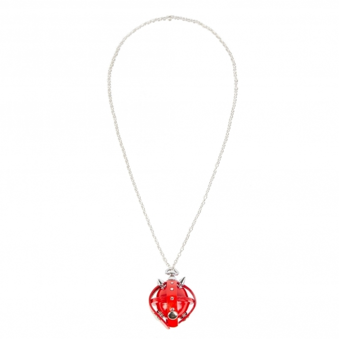 GOFEFE Red & Silver Studded Leather Locket Lollipop Necklace/ Key Chain