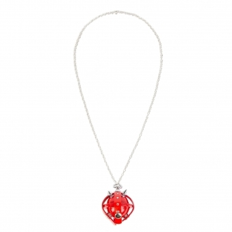 Red & Silver Studded Leather Locket Lollipop Necklace/ Key Chain