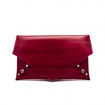 Red Studded Envelope Clutch