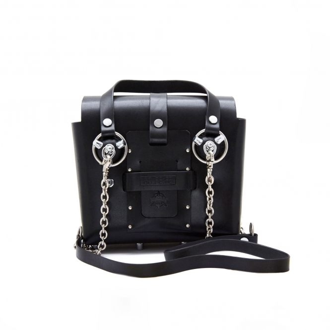 GOFEFE Small Black & Silver Studded Leather Bag