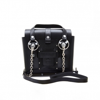 Small Black & Silver Studded Leather Bag