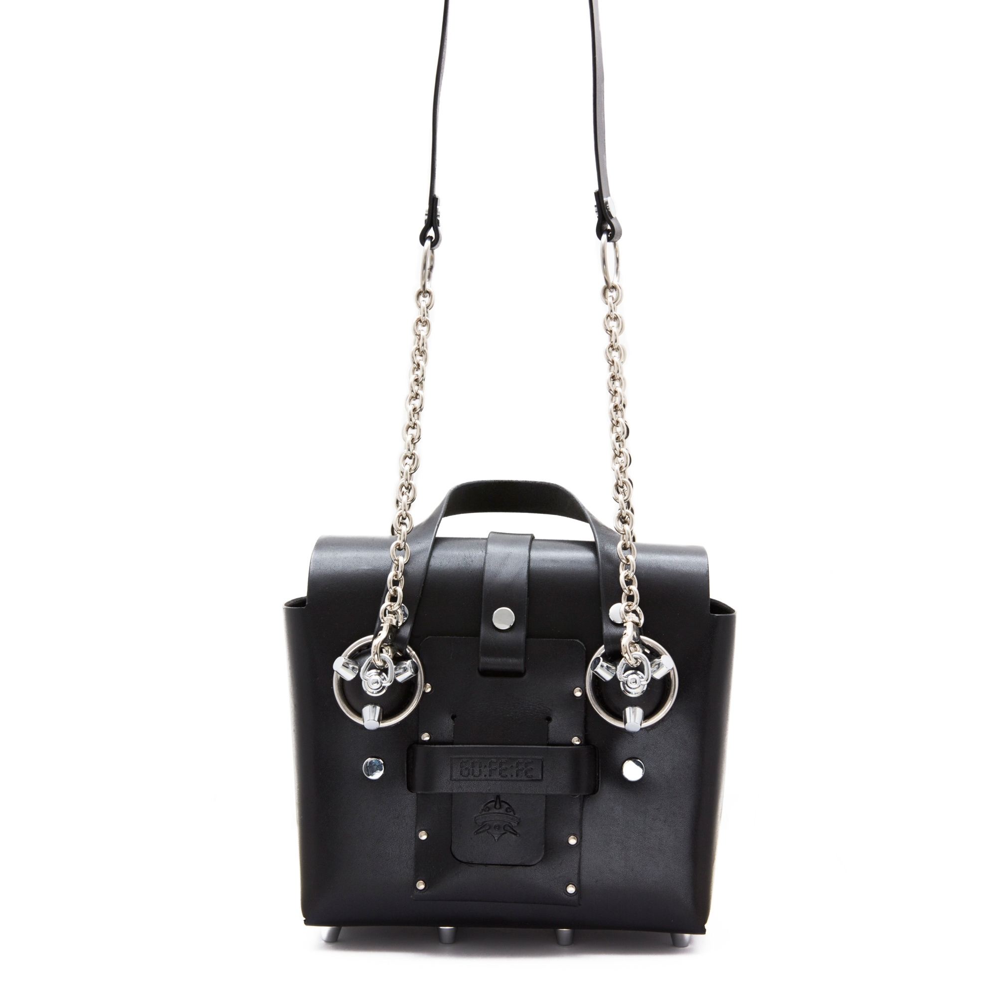 Small Black Silver Studded Leather Bag