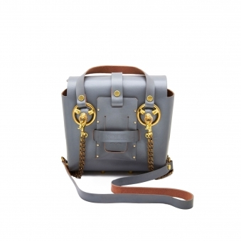 Small Grey & Gold Studded Leather Bag