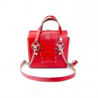 Small Red & Silver Studded Leather Bag