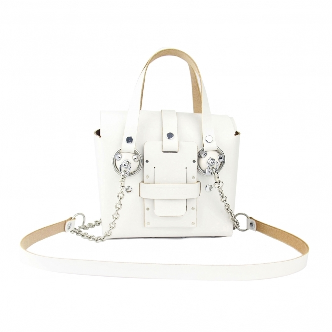 GOFEFE Small White & Silver Studded Leather Bag