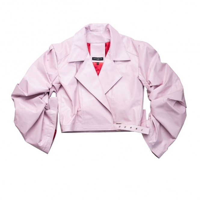 HOUSE OF COMPULSION Pink Puffed Sleeves Biker Jacket