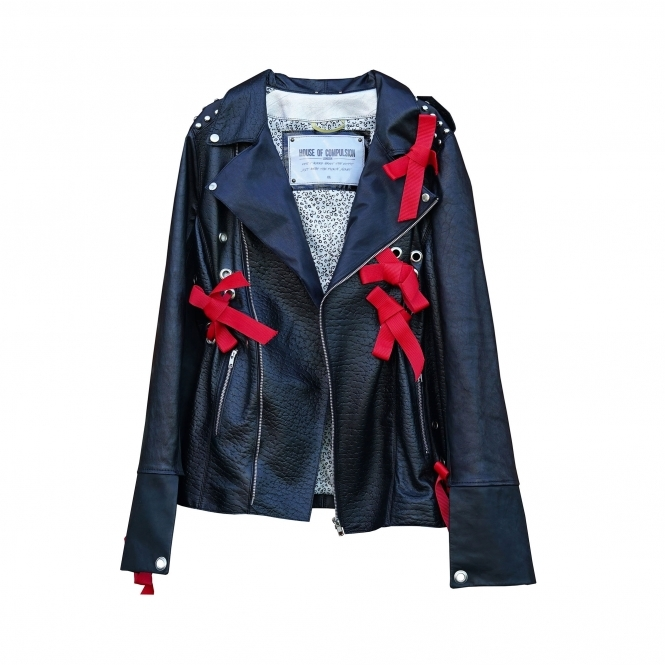 HOUSE OF COMPULSION Red Bows Biker Jacket