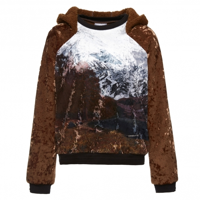 HULUN Brown Mountain Print Velvet Pullover