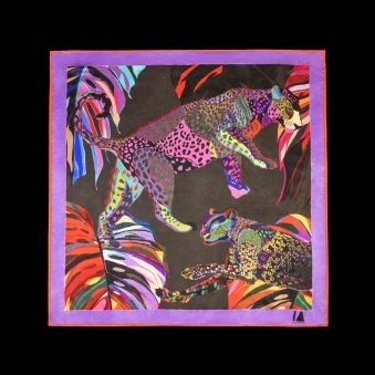 Cocktail Size Black Jungle Euphoria Leopard Silk Scarf