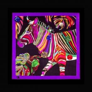 IA LONDON Cocktail Size Jungle Euphoria Zebra Silk Scarf
