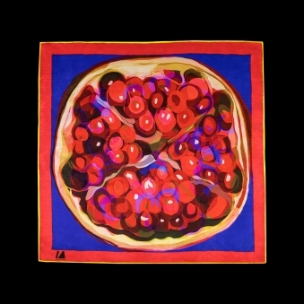 Cocktail Size Pomegranate on Blue Silk Scarf