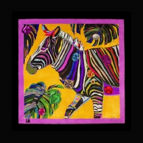 IA LONDON Cocktail Size Yellow Jungle Euphoria Zebra Silk Scarf