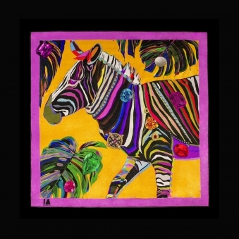 Cocktail Size Yellow Jungle Euphoria Zebra Silk Scarf