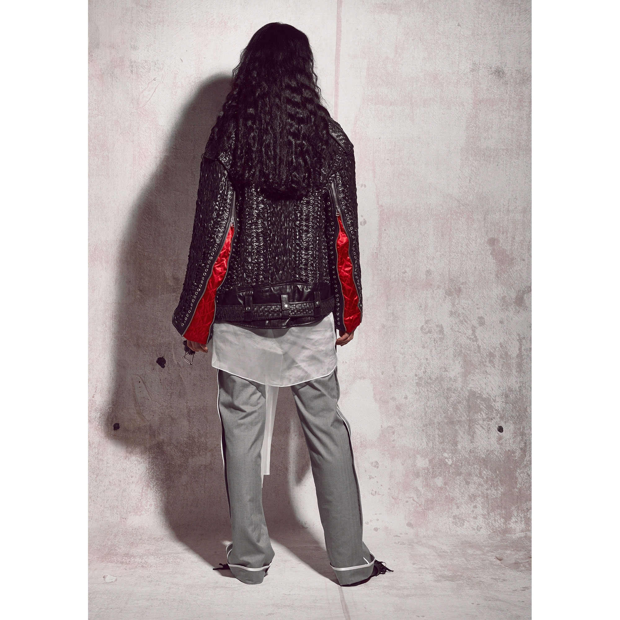 98650db3a Leather Woven Biker Jacket