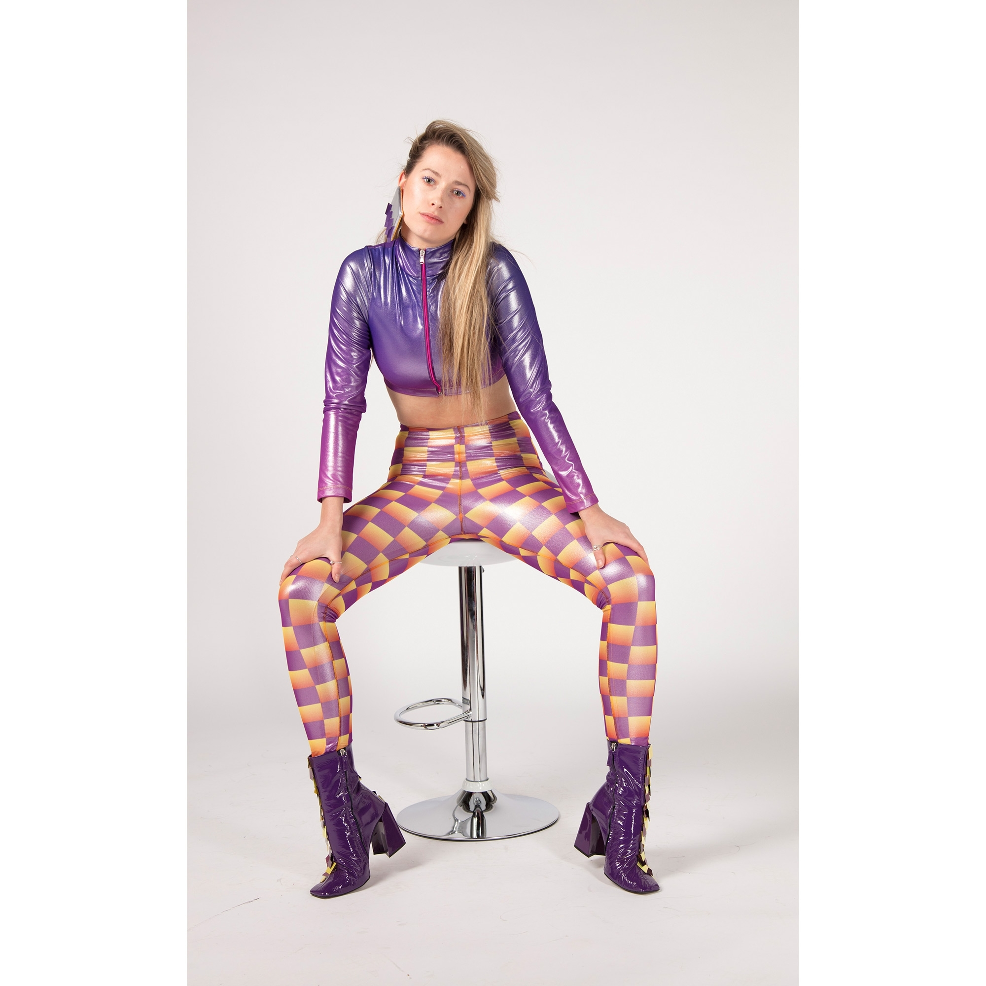 1be52540a56ea4 Purple and Yellow Printed Leggings - WOMEN from Fashion Crossover ...
