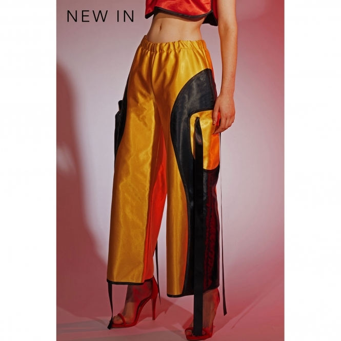 ODELLA YUE Gold Silk Satin Wide Leg Trousers