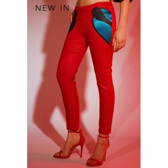 Red Trousers with Front Appliqué