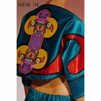 Silk Satin Butterfly Jacket with Back Print