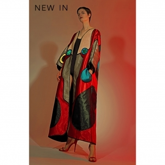 Silk Satin Full Length Coat with Appliqué Detail