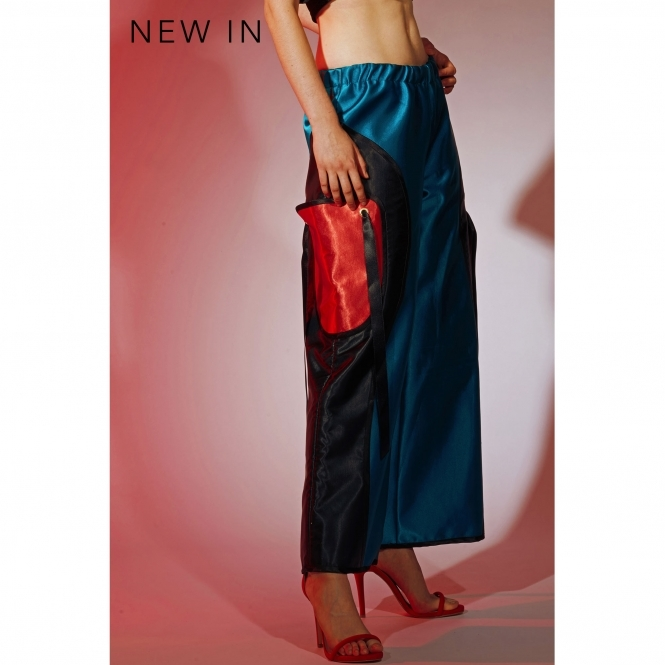 ODELLA YUE Turquoise Silk Satin Wide Leg Trousers
