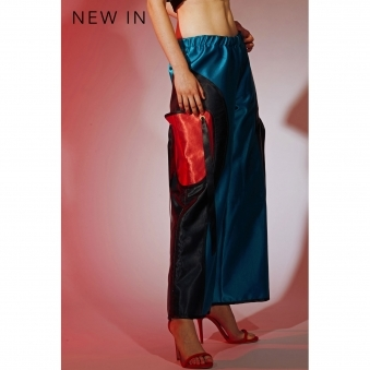 Turquoise Silk Satin Wide Leg Trousers