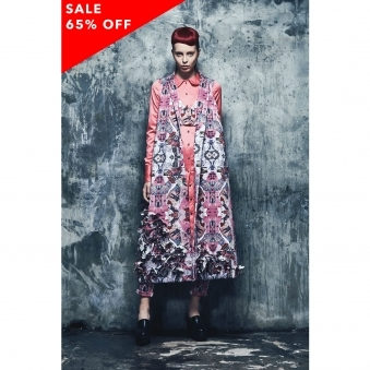 Blossom Pink Print Long Coat