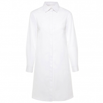 Long White Cotton Midi Shirt Dress