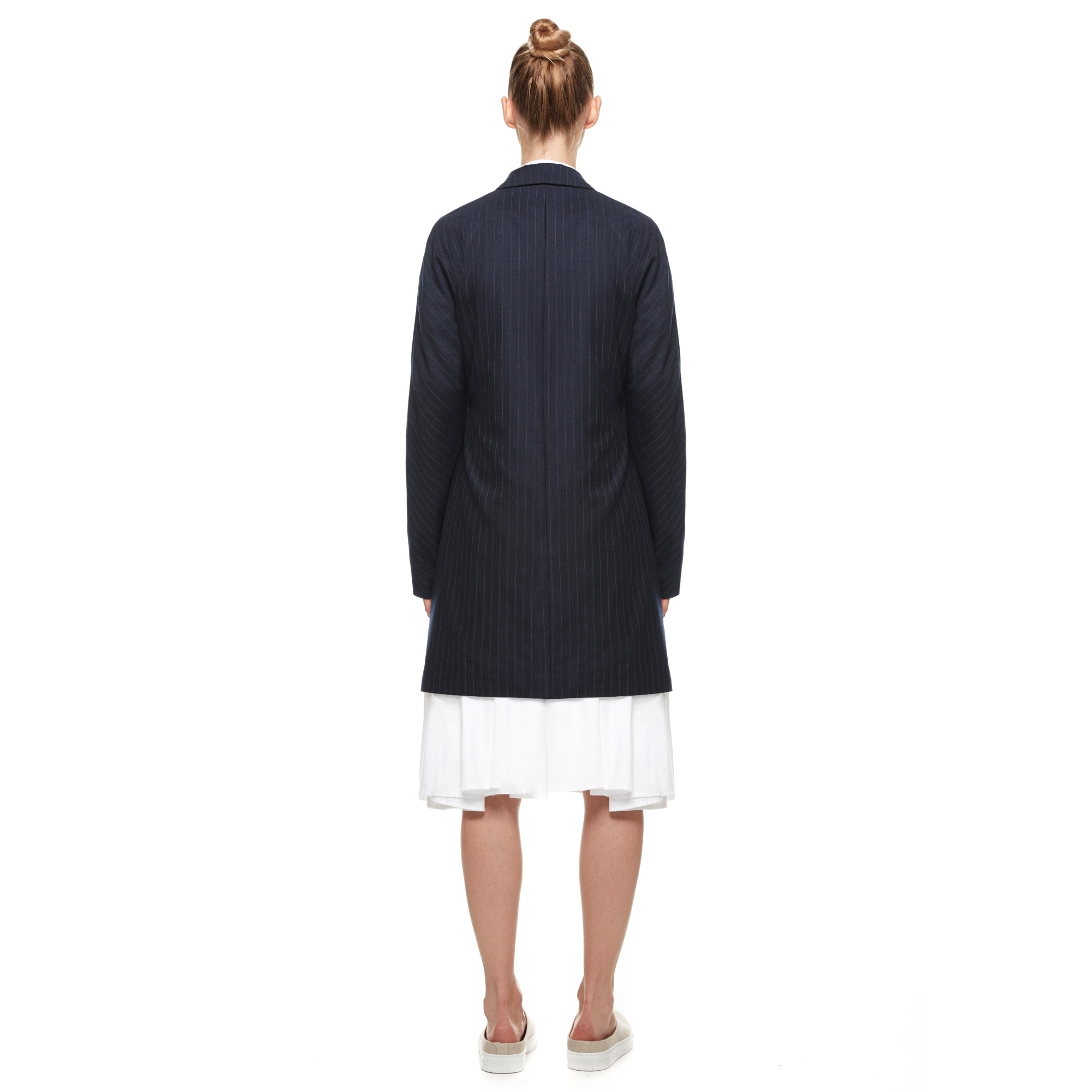 shur ruitz navy wool tapered long swing jacket women from fashion