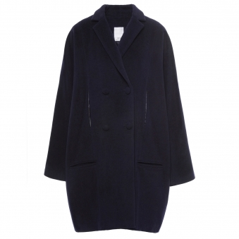 Oversized Navy Double Breasted Thick Wool Coat