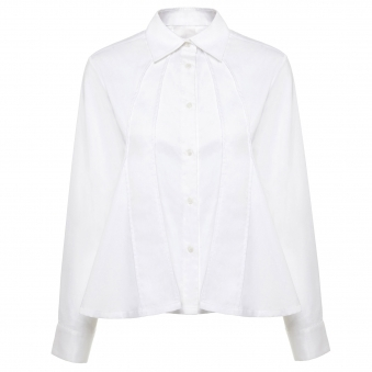 White Cotton Flare Shirt
