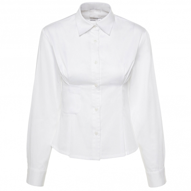 SHUR RUITZ White Cotton Shirt with Pleated Darts