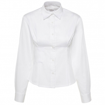 White Cotton Shirt with Pleated Darts