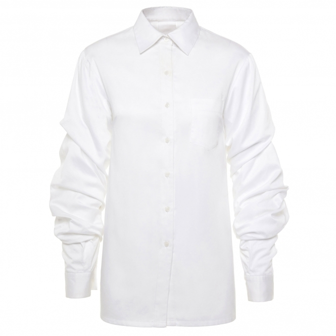SHUR RUITZ White Cotton Shirt with Puffy Ruched Sleeves