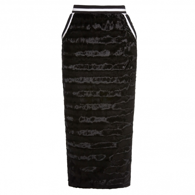 SIN'S SUIT Black Panelled Fur Midi Skirt