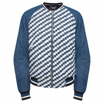 Graphic Denim Bomber Jacket