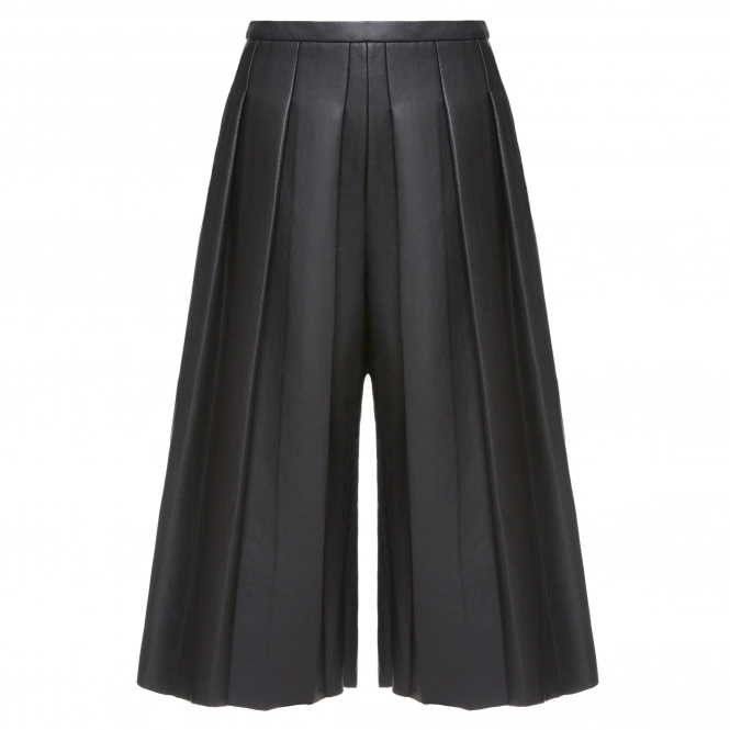 SIN'S SUIT Pleated Black Leather Culottes
