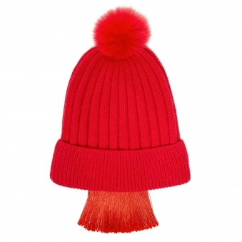 Red Tassels Fringe Knit Beanie