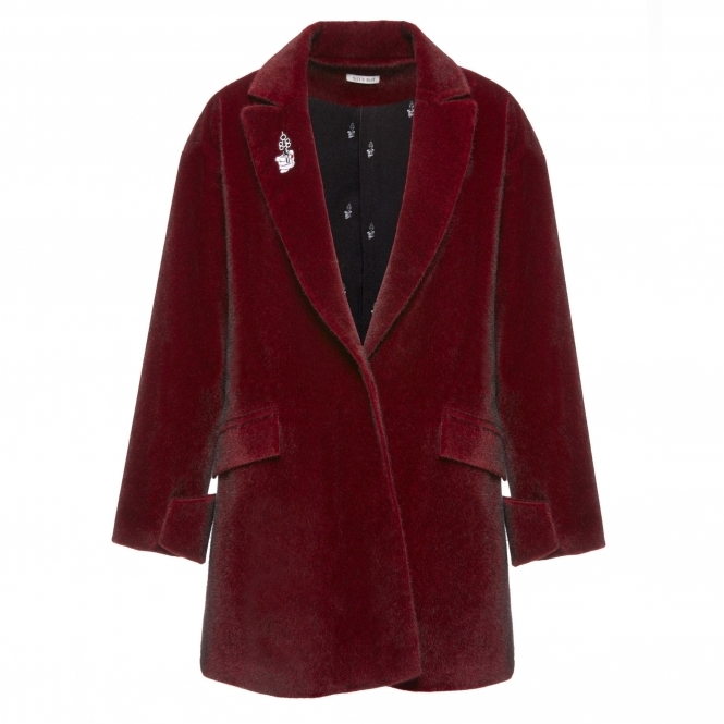 SIN'S SUIT Wine Red Faux Fur Coat