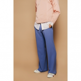 Blue Crepe Trousers