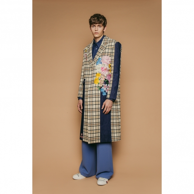 STEVE JIN Checked Embroidered Coat