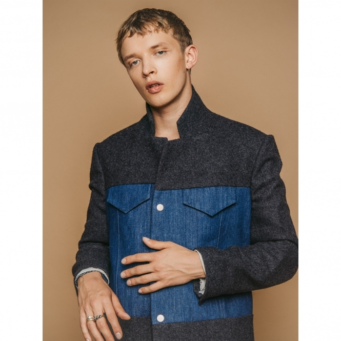 STEVE JIN Grey Wool and Denim Coat