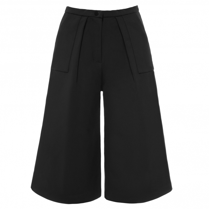 TIANTIAN Black Cropped Structured High Waisted Culottes