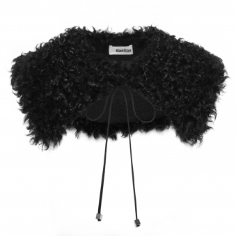 Black Curly Wool Collar