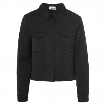 Black Lightly Quilted Boxy Cropped Shirt
